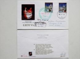 LIMITED LOW TIRAGE Cover Sent From Lithuania Art Painter Daniliauskas With Autograph 1995 Special Christmas Cancel Regis - Lithuania