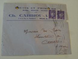 Afft Petain Sur Envel Ch Cabirou Fruits Legumes Millau Aveyron 1942 - Postmark Collection (Covers)