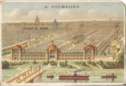 CHROMO PYGMALION  EXPOSITION UNIVERSELLE DE PARIS 1878 CHAMP DE MARS IMPRIMERIE H. LAAS - Trade Cards