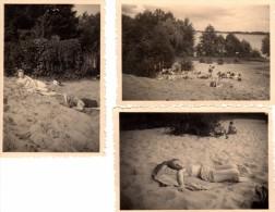 Photo Originale Plage Et Maillot De Bain - 3 Photos Autour D'une Femme à La Plage Près D'un Lac - - Pin-ups