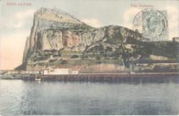 GIBRALTAR THE GALLERIES CPA EDITOR V.B. CUMBO ENVIADA A SEEGUNDO MARQUEZ FRAGATA SARMIENTO FONDEADA EN GIBRALTAR AÑO 190 - Gibraltar