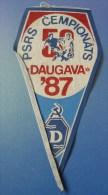 Soviet Union USSR FOOTBALL 50th Championship Flag PENNANT DAUGAVA Riga Latvia 1987 - Sports