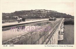47 - AGEN  - Le Pont Canal Et Le Coteau De L'Ermitage  - Attelage - Péniche - Péniches -Dos Vierge - TTBE  - 2 Scans - Agen