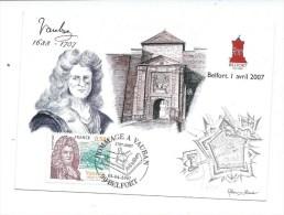 CARTE BELFORT - HOMMAGE A VAUBAN - TIMBRE + CACHET - N° 509/1500 - Belfort - Ville