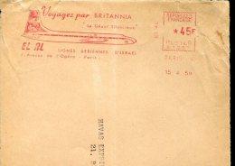 4689 France, Red Meter Freistempel 1959  El Al Voyagez Par Britannia,  Airplane, Flugzeuge, Avion (front Of Cover) - Aerei