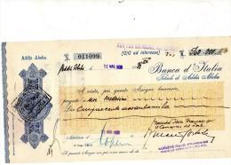 1938 ADDIS ABEBA - BANCA D'ITALIA  ASSEGNO - Assegni & Assegni Di Viaggio