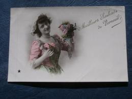 Meilleurs Souhaits De Verneuil  Femme, Fleurs - Ed. L'Etoile  Le Normand - Circulée 190? - L243 - Verneuil-sur-Avre
