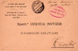 1918 LETTERA CON ANNULLO MONDOVI CUNEO - UFFICIO NOTIZIE FAMIGLIE MILITARI - 1914-18