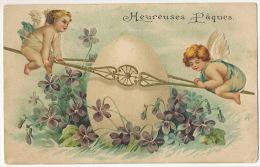 Angelots Gaufrées Balnaçoire Paques Oeuf Cupid Easter Embossed - Angels