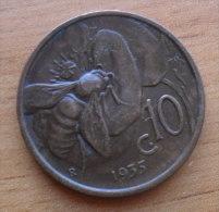 10 CENTESIMI APE 1935 DEL  REGNO D'ITALIA DI VITT. EMANUELE III°  - - 1861-1946 : Royaume