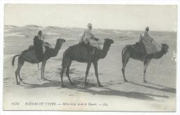CPA ANIMEE MEHARISTES DANS LE DESERT, SCENES ET TYPES - Cartes Postales