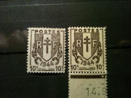 Timbre - 1945 N°670 Brun Noir, Lot D'étude, 1 Timbre Brun Noir Impression Fine + 1 Brun Clair Impressi Defectueuse - Neufs