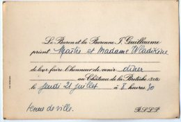 VP2754  -  Carte D´invitation  - Mr Le Baron Et  La Baronne J.GUILLAUME Au Chateau De La Bretèche ( S & O) - Cartes