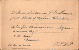 VP2755 - PARIS -  Carte D´invitation  - Mr Le Baron Et  La Baronne J.GUILLAUME - Cartes