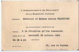 VP2756 - PARIS -  Carte D´invitation  - Mr L´Ambassadeur De Belgique Et La Baronne JASPAR - Sin Clasificación