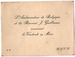VP2757 - PARIS -  Carte D´invitation  - Mr L´Ambassadeur De Belgique Et La Baronne J GUILLAUME - Sin Clasificación