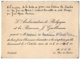 VP2758 - PARIS -  Carte D´invitation  - Mr L´Ambassadeur De Belgique Et La Baronne J GUILLAUME - Cartes