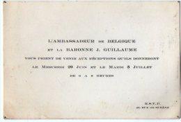 VP2760 - PARIS - Carte D´invitation  - Mr L´Ambassadeur De Belgique Et La Baronne J GUILLAUME - Sin Clasificación