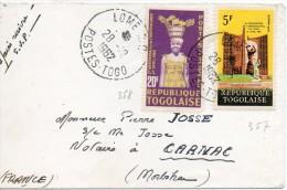 1962 Togo Petit Lettre De Lome' Voyagee Pour La France Cover - Togo (1960-...)