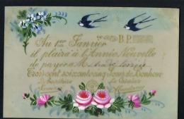 FANTAISIE  - Carte Celluloid - Au 1er Janvier ... Hirondelles -Fleurs - Porcelaine
