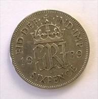 Monnaie - Grande-Bretagne - 6 Pence 1939 - Argent - TTB - - 1902-1971 : Monnaies Post-Victoriennes