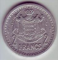 - MONACO - Louis II Prince De Monaco - 2 Francs - - Monaco