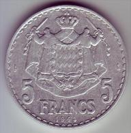 - MONACO - Louis II Prince De Monaco - 5 Francs. 1945 - - Monaco