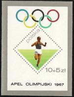 Poland,  Scott 2015 # B110 ,  Issued 1967,  S/s Of 1,  MNH,  Cat $ 1.50,  68 Olympics - 1944-.... Republic