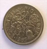 Monnaie - Grande-Bretagne - 6 Pence 1963 - - 1902-1971 : Monnaies Post-Victoriennes