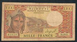 DJIBOUTI  P37b  1000  FRANCS   1988    FINE - Djibouti