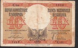 ALBANIA P11  10  LEKE 1940   F-VF   NO P.h. ! - Albanie