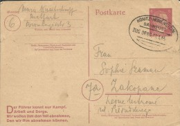 BAHNPOST ZUG 0886 KONITZ - HOHENSTEIN - ZAKOPANE DR Germany 1945 Postcard  Postkarte 6 Pf - Stamped Stationery