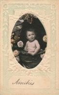 ENFANTS - BÉBÉS - Jolie Carte Fantaisie Gaufrée Portrait Bébé Et Fleurs - Bébés