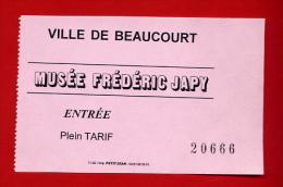 """959-1 -  Ticket   """" Musée Frédéric Japy """"  Pour Collection - Eintrittskarten"""