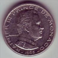 - MONACO - Rainier III Prince De Monaco - 1/2 Franc. 1965 - - 1960-2001 Nouveaux Francs