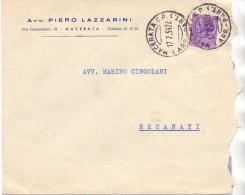 SS - AVV. PIETRO LAZZARINI -  MACERATA - 12X18 - LS - ANNO 1954 -TEMA TOPIC COMUNI D´ITALIA - STORIA POSTALE - Affrancature Meccaniche Rosse (EMA)