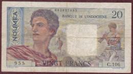 20 Francs NOUVELLE CALEDONIE - NOUMEA - Banque De L'Indochine. Serie C.106 - Nouméa (Nuova Caledonia 1873-1985)
