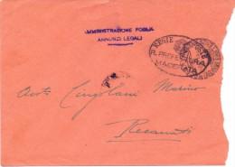 SS - PREFETTURA DI MACERATA - ANNUNZI LEGALI - 12X17 - LS - ANNO 1938 - TEMA TOPIC COMUNI D´ITALIA - STORIA POSTALE - Affrancature Meccaniche Rosse (EMA)
