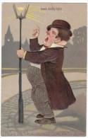 PFB #6895  Drunk Man Caricature 'Lead, Kinkly Light' C1900s Vintage Embossed Postcard