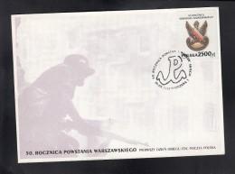 POLAND, 1994 FDC  50 YEARS WARSHAWA UPRISING ** - Militaria