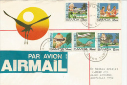 Le Tourisme Aux îles Samoa, Yvert 490/94, Série Complète Sur Lettre Adressée En Australie - Samoa