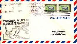 Honduras Cover Pan American First Flight FAM 5 Tegucigalpa, Honduras To Miami Apr 28, 1959 Black Cachet - Honduras