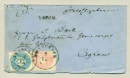 Österreich - 5 + 10Kr On R-cover From Innsbruck To Agram - 1850-1918 Empire