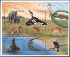 Togo 1996 - MNH - Bird, Elephants, Gazella, Hippo, Reptiles, Snake - Francobolli