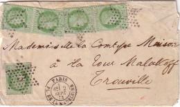 PARIS - ETOILE 3 - 5c CERES X 5 DONT 2 PAIRES - LETTRE DE PARIS PLACE DE LA MADELEINE LE 2-9-1876 - PAPIER FRAGILE MAIS - 1849-1876: Classic Period