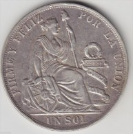 @Y@     Peru - Un Sol 1891  Silver. (item 2895 ) - Peru