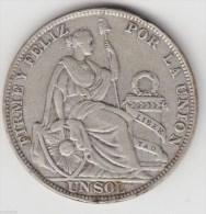 @Y@     Peru - Un Sol 1931 Silver. (item 2894 ) - Peru