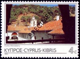 RELIGIONS-BUDDHISM-KIKKO MONASTRY-SPECIMEN OVERPRINT-CYPRUS-1985-MNH-B3-835 - Buddhism