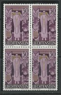 Liechtenstein, Mi 380 Jaar 1959, Postfris, (MNH**), Blok Van 4, Zie Scan - Liechtenstein
