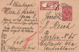 Österreich Pk Mit 10 Heller Ganzsache Und 2 Heller Zusatzfrankierung Gel.1919 Wien > Berlin - Briefe U. Dokumente
